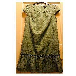 👛GAP Size S Green Ruffle Shift Dress w/Pockets